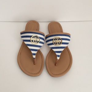 Tommy Hilfilger Tong Flats Sandals Logo Striped
